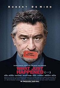 "A headshot of Robert De Niro, his mouth covered by a ticket saying ""Admit Nothing"""