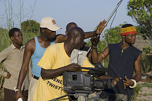 Director Bond Emeruwa and crew shoot a scene.