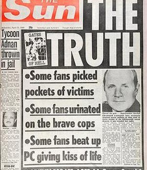 The controversial front page of the Sun.