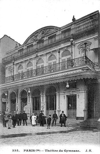 English: Théâtre du Gymnase, postcard. (The im...