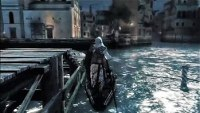 Ezio stealing a gondola from a small pier