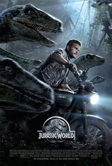 "A black poster featuring a gray circular shield with a stylized Tyrannosaurus skeleton under a plaque reading ""Jurassic World"". Below is the tagline ""The Park is Open""."