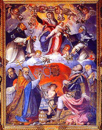Pope Pius V Credits Our Lady of the Rosary wit...
