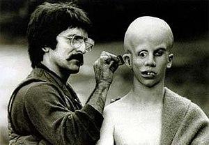 Tom Savini applies make-up to Ari Lehman, crea...