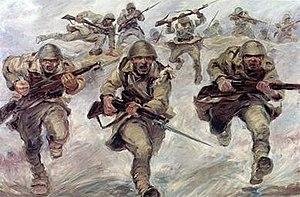 Painting depicting Greek soldiers on bayonet c...