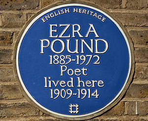 A blue plaque on 10 Church Walk, where Pound s...