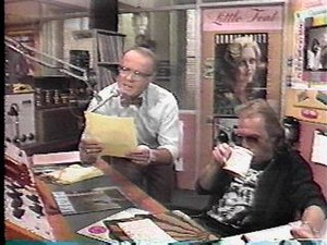 Les Nessman and Johnny Fever in the studio
