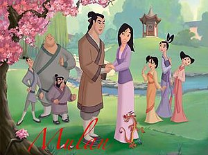 The main characters in Mulan II. From left to ...