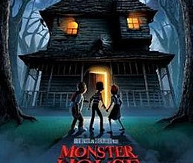 Film Poster Showing Three Children Standing Behind And Looking At The Haunted House The Tagline