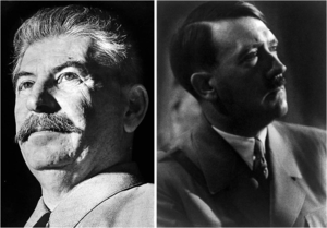 A collage made from the portraits of Stalin an...