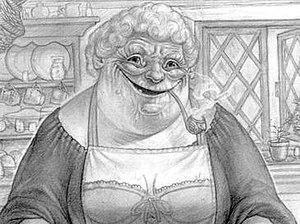 Nanny Ogg as she appears in Nanny Ogg's Cookbo...