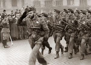 Bulgarian airborne troops marching at a victor...