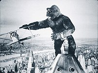The iconic scene of King Kong battling an airp...