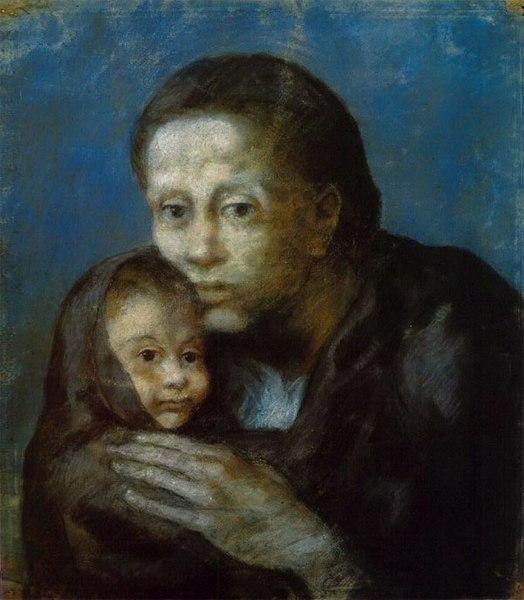 Pablo Picasso, 1903, Desemparats (Maternité, Mère et enfant au fichu, Motherhood), pastel on paper, 47.5 x 41 cm, Museu Picasso, Barcelona.jpg