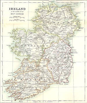 Map of 16th century Ireland from Falkiner, Ill...