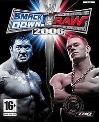 NTSC boxart for the PlayStation 2 version, featuring (from left) Batista and John Cena.