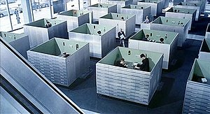 The office set for Jacques Tati's Play Time an...