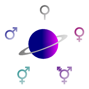 Image of alien planet and gender symbols
