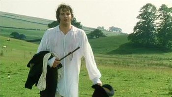 A scene with Colin Firth as Mr. Darcy after a ...