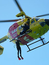 The 'Life Saver 1' helicopter during a water r...