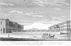 A 1774 engraving of Spanish Town's colonial of...