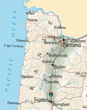 The Willamette Valley contains most of Oregon'...
