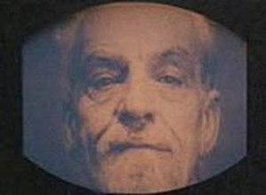 Emmanuel Goldstein's ominous face on a telescr...
