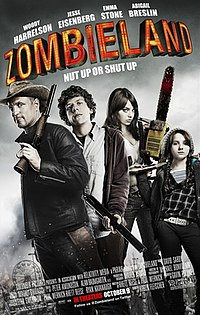 "Poster for Zombieland with subtitle ""Nut up or shut up"". The four actors appear as a group all holding different weapons."