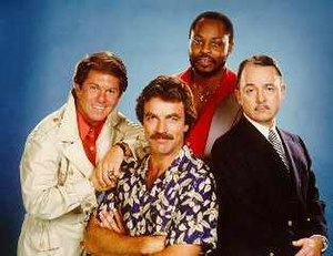 The Cast of Magnum, P.I.: (left-to-right) Larr...