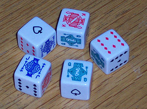 A set of Poker dice as used in Liar dice (indi...
