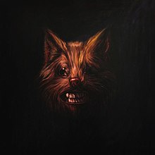 A painting of a wolf's face with its teeth bared