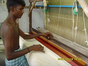Skill sari weaving in cheyyar.