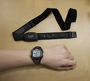Photo of a heart rate monitor showing chest st...