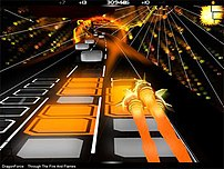 AudioSurf playing Through the Fire and Flames,...