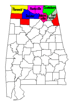 Map of North Alabama counties shaded in, with ...