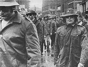 The UDA marching through Belfast's city centre...