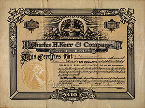 Charles H. Kerr 1911 series stock certificate ...