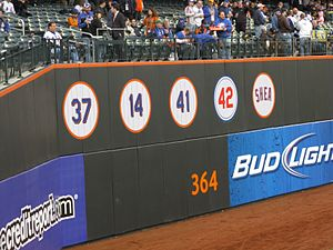 Retired numbers by the Mets at Citi Field