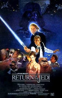 This poster shows a montage of characters from the movie. In the background, Darth Vader stands tall and dark in front of a reconstructed Death Star; before him stands Luke Skywalker wielding a light saber, Han Solo aiming a blaster, and Princess Leia wearing a slave outfit. To the right are an Ewok and Lando Calrissian, while miscellaneous villains fill out the left.