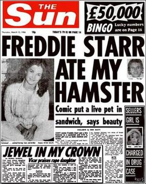 The 13 March 1986 edition of The Sun, with the...