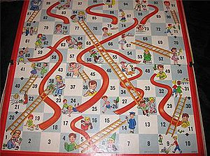 Milton Bradley Chutes and Ladders game board c...
