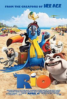 """A Blue Spix's Macaw wearing a yellow scarf is surrounded by other birds and animals from the film. They sit on a sandy beach with beachgoing tourists in the background, facing away. The weather is mostly sunny, with one cloud in the sky. The text reads """"From the creators of Ice Age: RIO"""""""