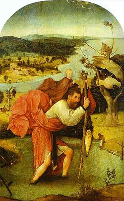 St. Christopher Carrying the Christ Child, by Hieronymus Bosch, 1480-1490.