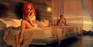 A scene from the video, where Rihanna and her ...