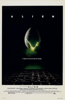 "A large egg-shaped object that is cracked and emits a yellowish light hovers in mid-air against a black background and above a waffle-like floor. The title ""ALIEN"" appears in block letters above the egg, and just below it in smaller type appears the tagline ""in space no one can hear you scream""."