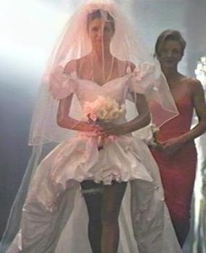 Composite image of the iconic wedding dress fr...