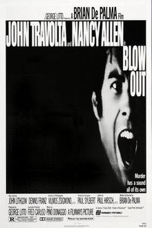 "The poster has a squeezed, black-and-white image of John Travolta screaming, with the tagline below reading ""Murder has a sound all of its own""."