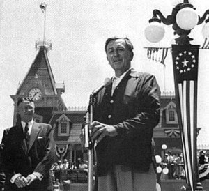 Walt Disney giving the opening day speech July...