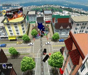 Sonic uses an impromptu snowboard to escape fr...