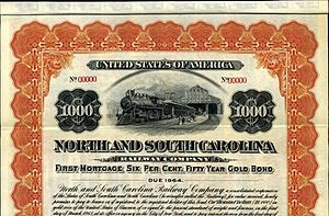 North and South Carolina Railway stock certifi...